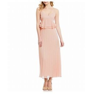 Gianni Bini Rose Jacquard Ruffle Pleat Midi Dress
